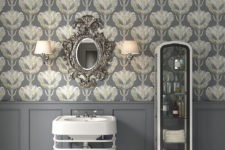 03 Grey with gold prints for a refined bathroom