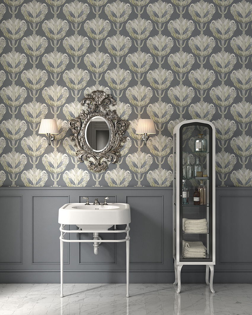 Grey with gold prints for a refined bathroom