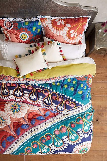 bold gypsy-inspired bedding with various prints and colors