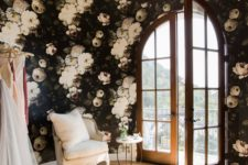 03 feel like a blooming garden with dark moody realistic wallpaper in your bedroom