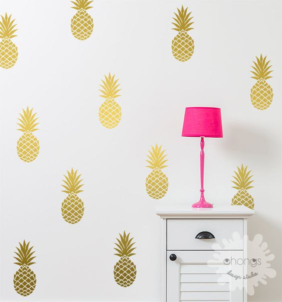 gold pineapple wall decals will instantly add a tropical feel to your space