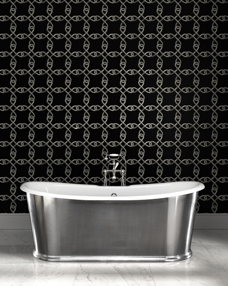 Black metal chain print wallpaper for an eye-catchy accent wall in a bathroom