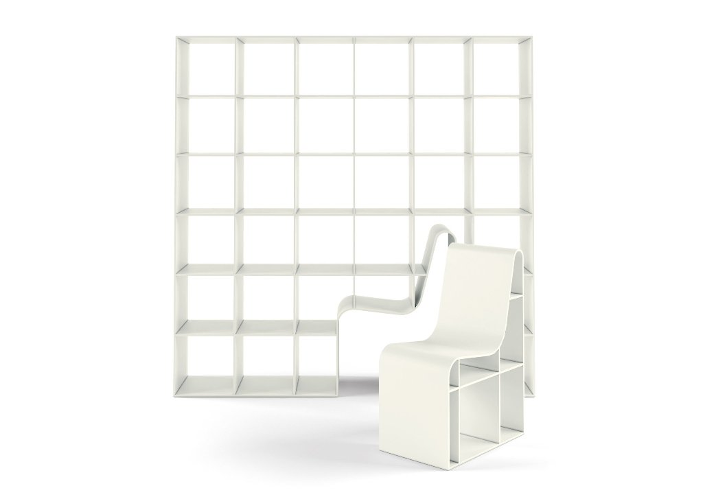 Bookchair is made of wooden fiber and is available only in white for a minimal feel