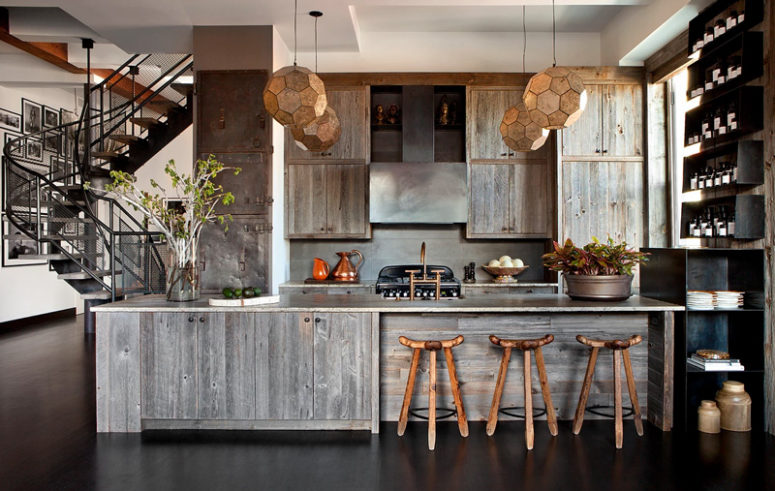 The kitchen is of weathered wood, with dark metal shelves and rustic wooden stools