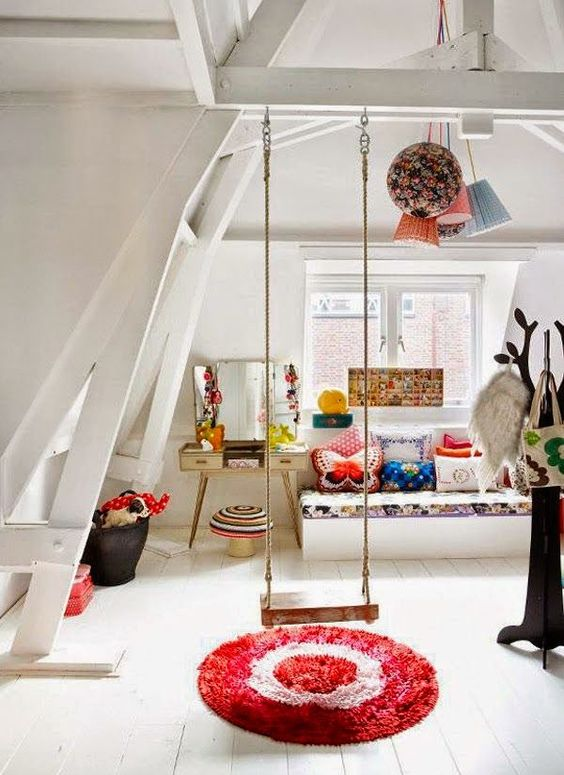 a swing is a must for a kid's room, whether it's a girl's or a boy's space