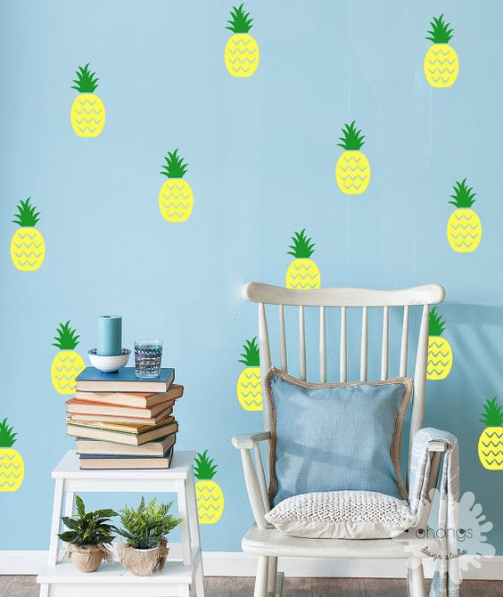 add cheer to your kid's room with such bold pineapple decals
