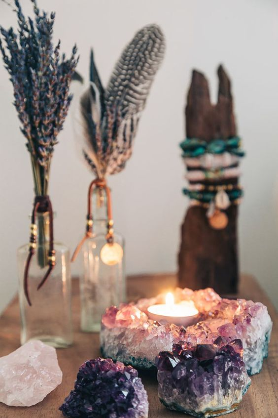 amethyst rocks and candle holder and lavender displays for a boho feel in your space
