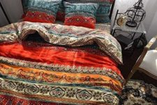 04 colorful printed bedding set in red, orange and blue