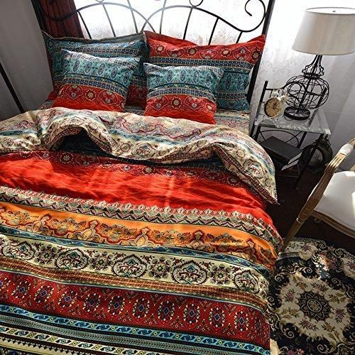 colorful printed bedding set in red, orange and blue