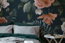 04 moody floral wallpaper that highlights the headboard wall in the bedroom