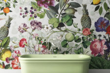 05 Botanical, floral and tropical print wallpaper for a bold bathroom