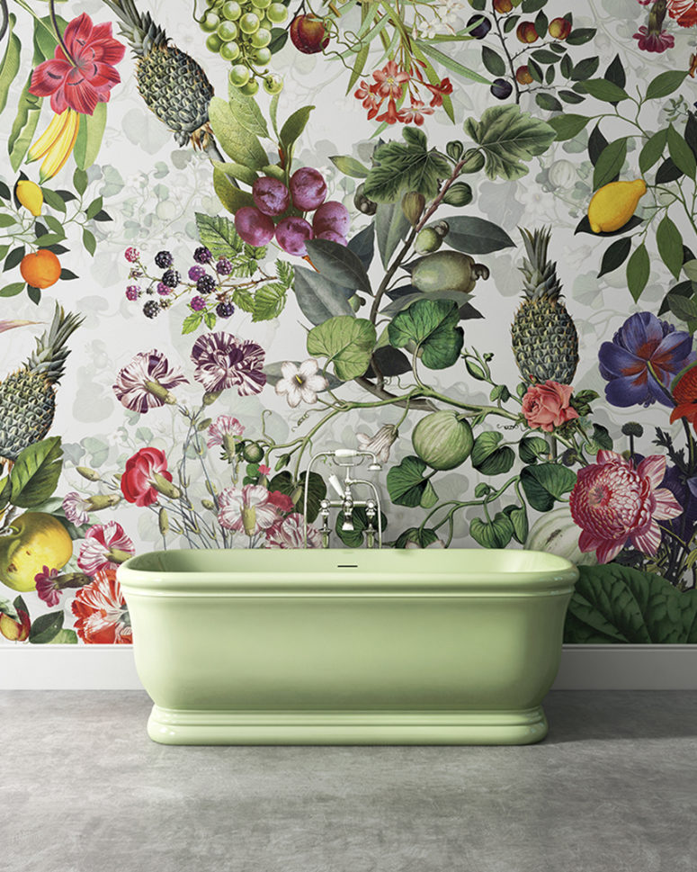 Refined and unique wallpaper collection digsdigs for Floral bathroom wallpaper