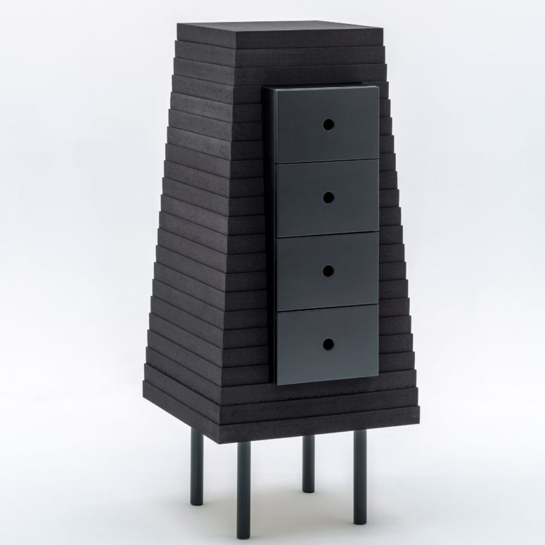 Piece D is a chest of drawers made from black cork