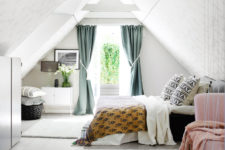 05 The master bedroom is an attic space, which is a great calming backdrop for bold and printed fabrics