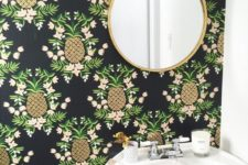 05 black wallpaper with pineapple and floral prints