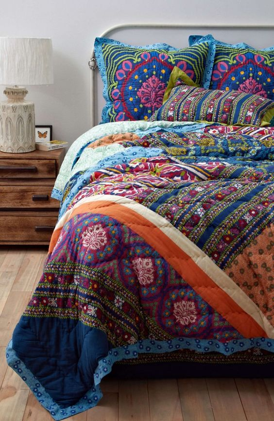 colorful printed bedding will raise your mood