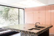05 dark terrazzo kitchen island and floor look like a monolith