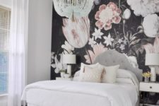 05 realistic large scale floral wallpaper for a light-colored girl's bedroom