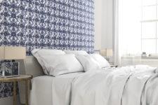 06 Blue printed wallpaper for a headboard bedroom