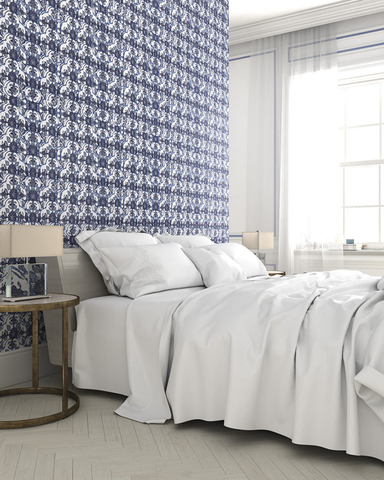 Blue printed wallpaper for a headboard bedroom