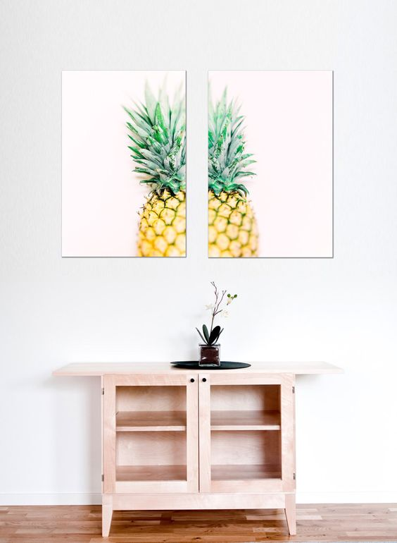 a cheerful pineapple double wall art will easily add fun to your space