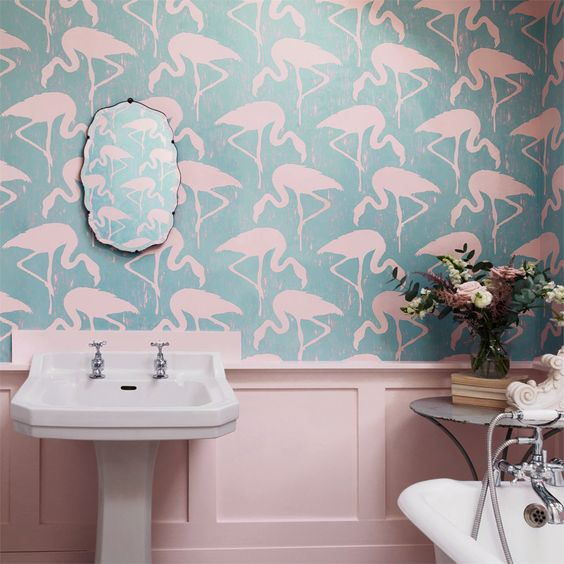 blue and light pink flamingo wallpaper is a creative solution for a bathroom