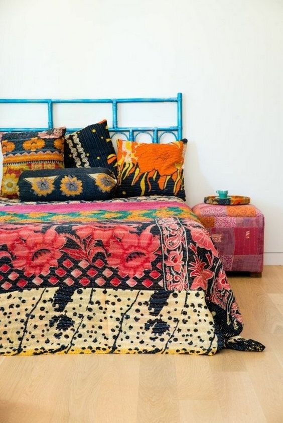 colorful printed bedding with large scale floral prints