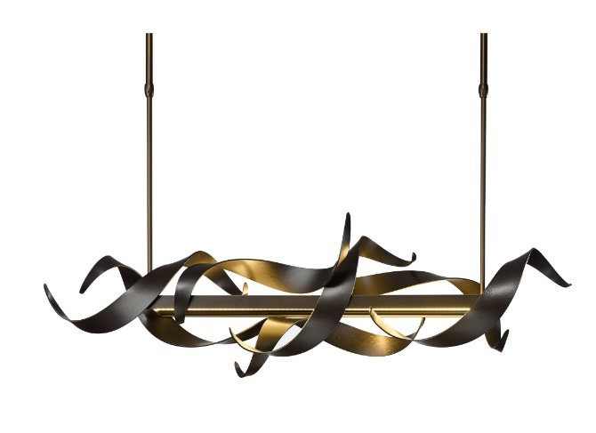 Folio pendant lamp shows hand-forged steel ribbons that seem to dance around the horizontal frame that houses the LED components