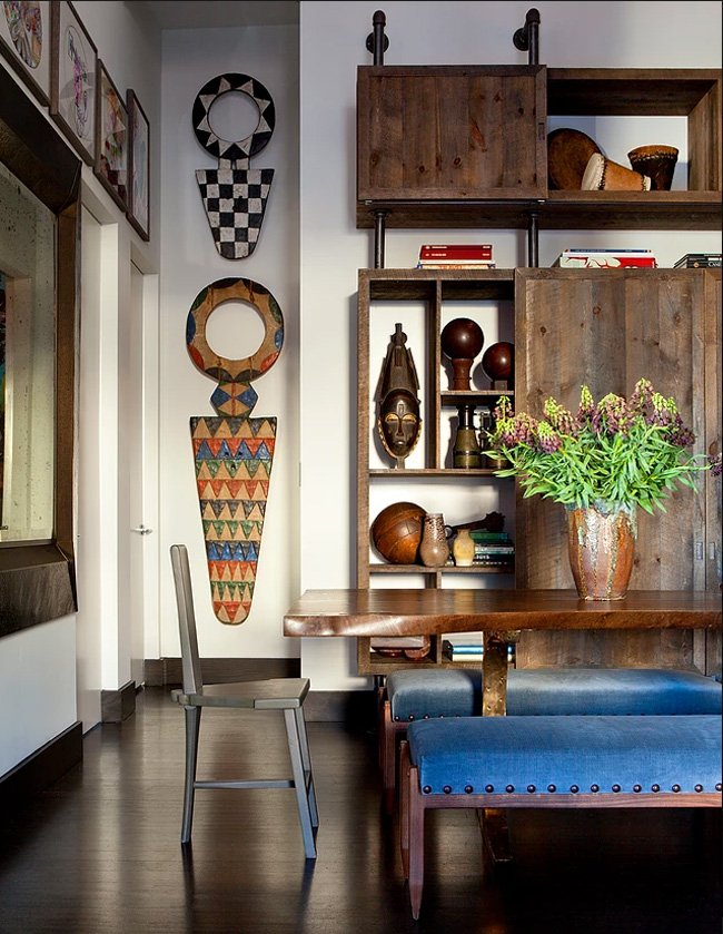 There's much weathered wood and metal in decor, it makes the spaces textural and warm