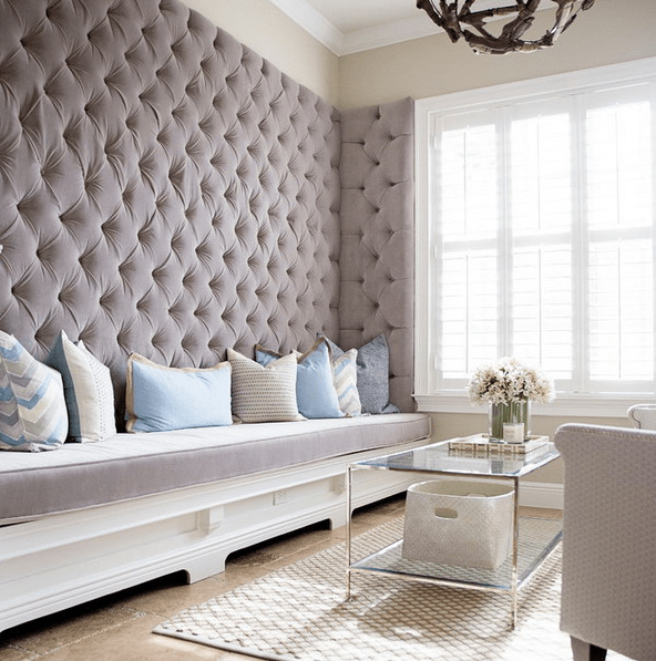 a diamond upholstery wall makes the space elegant and cozy