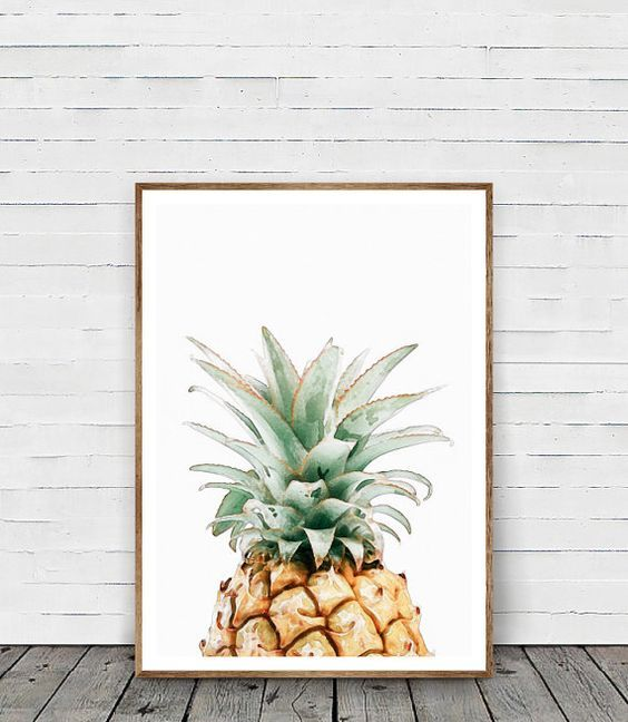 a watercolor pineapple wall art will cheer up any space