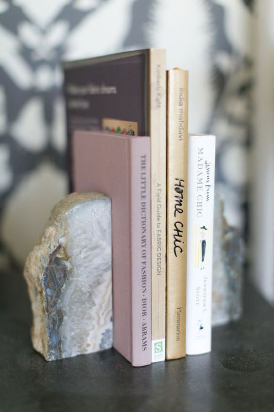 agate slice bookends will add chic to your space