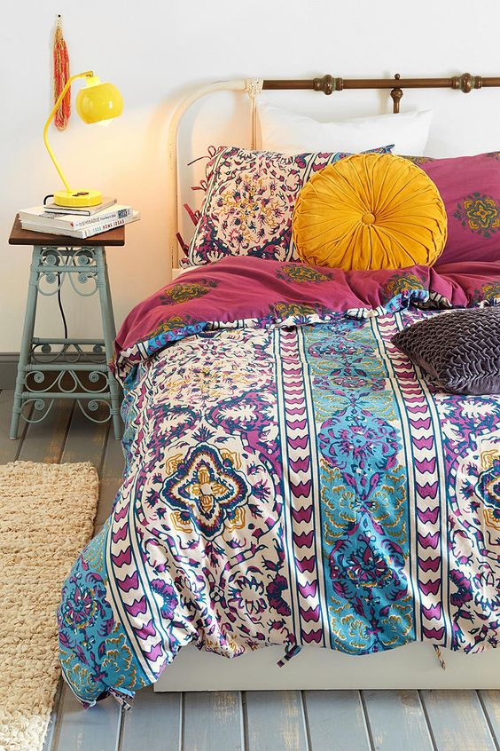 colorful textured bedding with eye-catchy prints and patterns