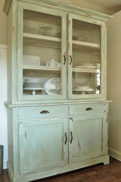 soft pastel cupboard will add chic and a refined feel to your dining space