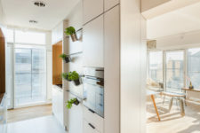 08 The kitchen is a small space with greenery in pots and sleek cabinets with small handles