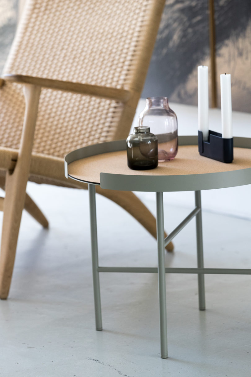 There are also small colored coffee tables also laid with cork