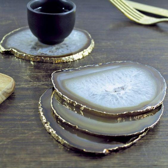 agate slice with a gilded edge coasters will add a chic touch