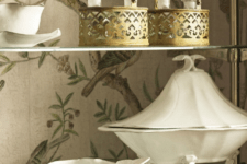 08 bird print wallpaper for decorating the inside of a vintage cupboard