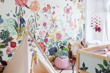 08 colorful watercolor floral wallpaper for a kid's room to add cheer to the room