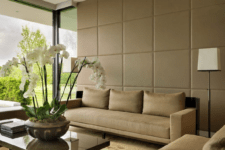 08 leather wall panels make the space look very chic and reduce the noise level