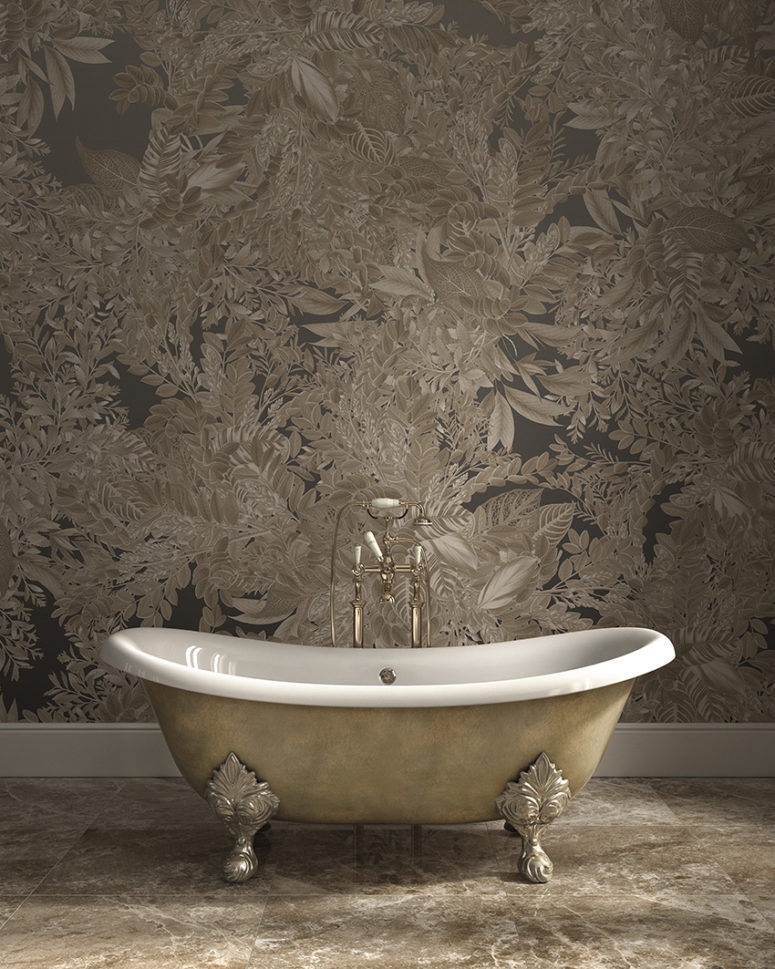 Chic botanical print wallpaper to make your bathroom stunning