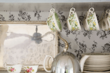 09 black and white floral print wallpaper will create a vintage feel and charm