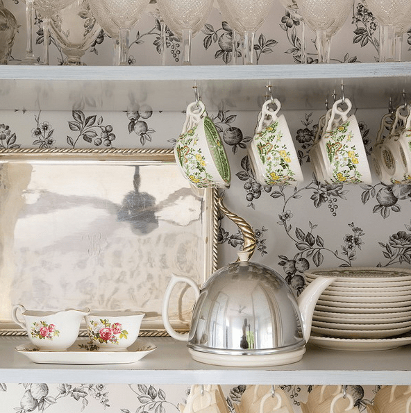 black and white floral print wallpaper will create a vintage feel and charm