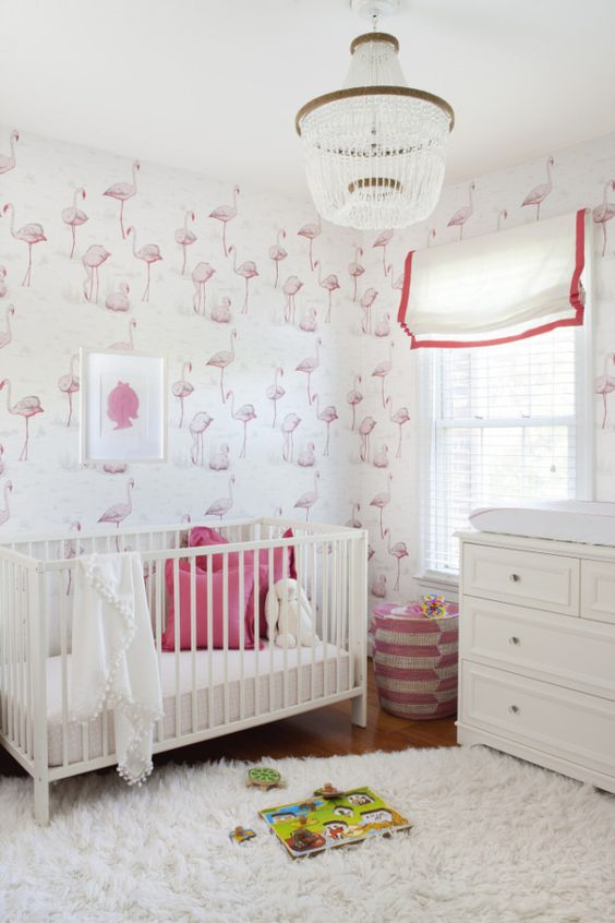 pink flamingo wallpaper is an interesting solution for a girl's nursery