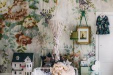 09 vintage-inspired floral wallpaper for a little girl's room