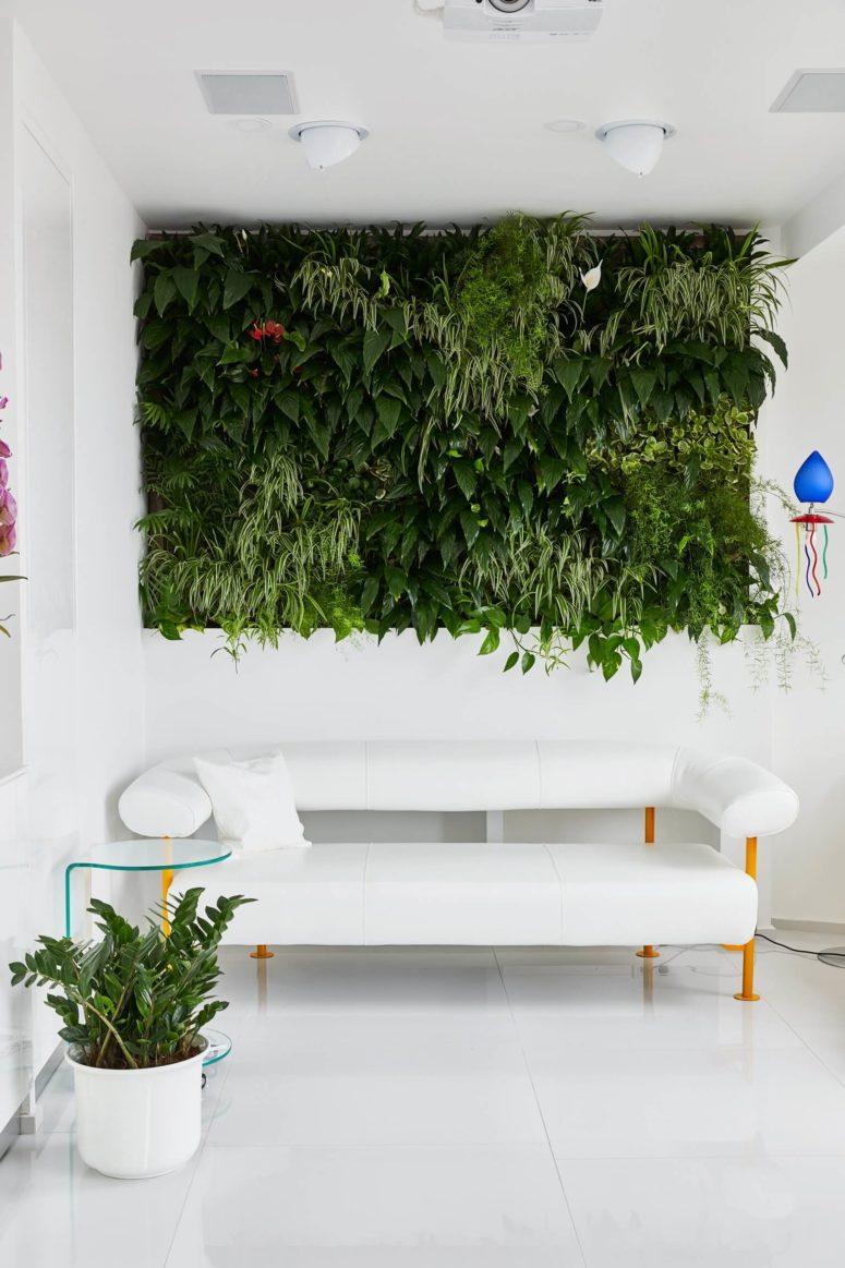 A green living wall is another hot trend, and it really adds a natural feel to the space