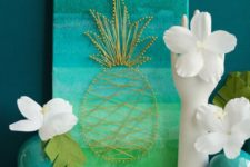 10 ombre turquoise to green art piece with pineapple string decor