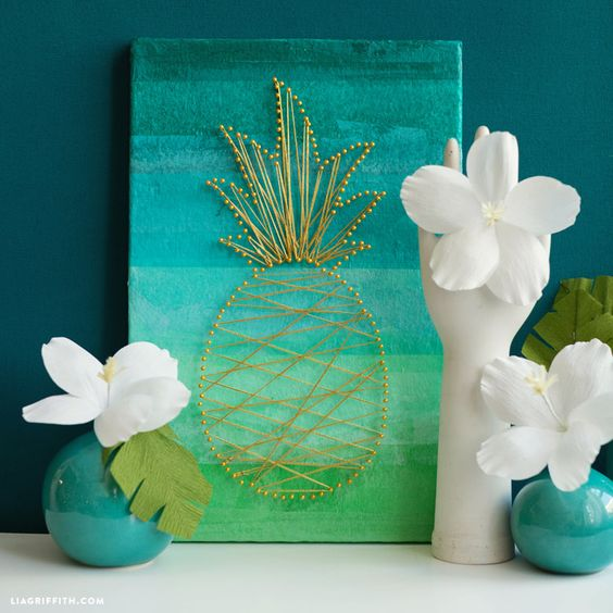 ombre turquoise to green art piece with pineapple string decor