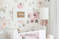 10 watercolor pink floral wallpaper is an ideal choice for a little princess's room