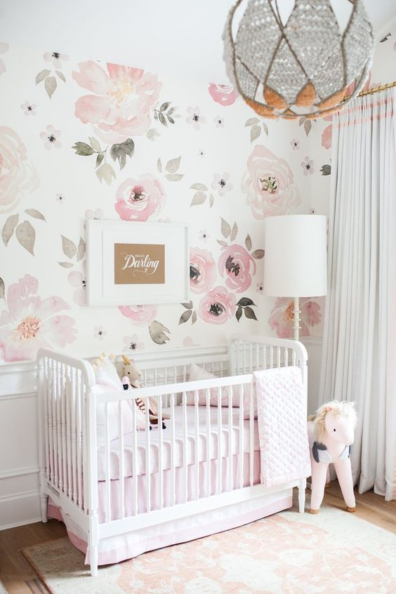 watercolor pink floral wallpaper is an ideal choice for a little princess's room